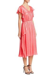 Armani Animal Print Short Sleeve Jacquard Dress