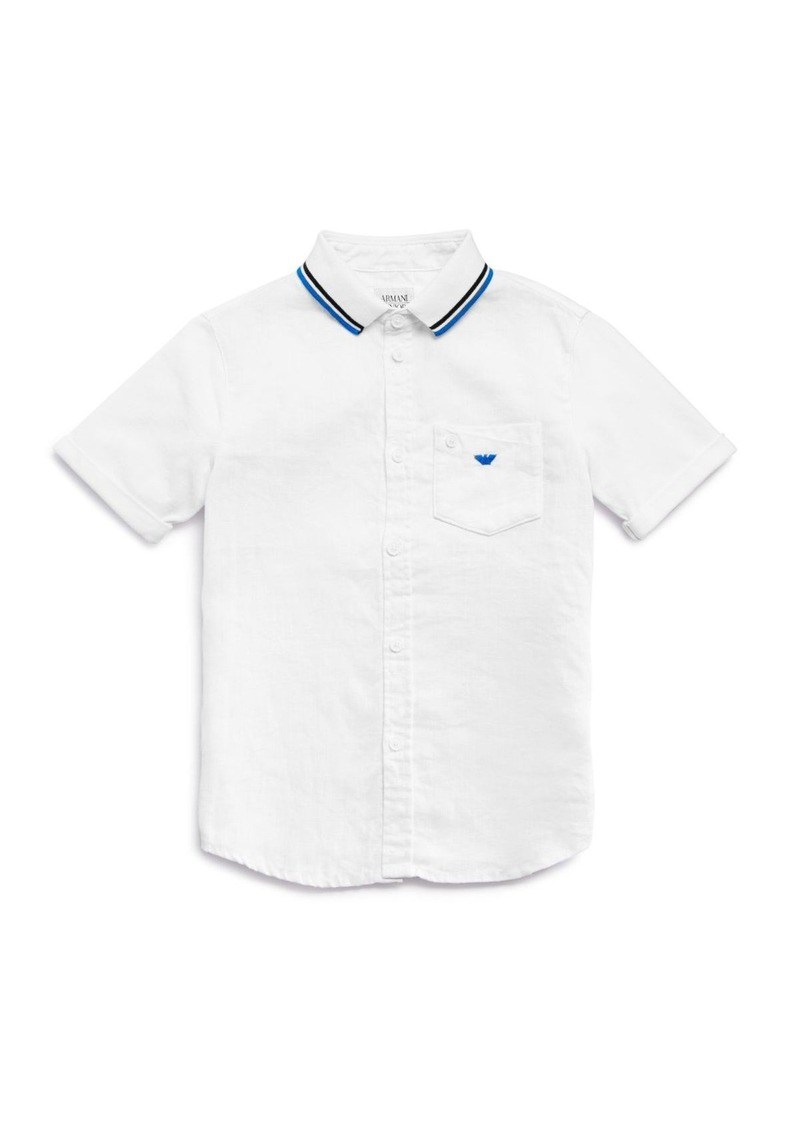 Armani Boy's Woven Linen and Pique Knit Shirt - Sizes 8-16
