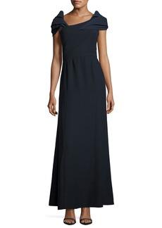 Armani Asymmetric Cap-Sleeve A-Line Gown