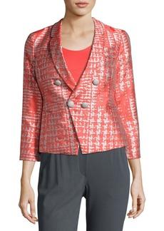 Armani Basketweave Jacquard 3/4-Sleeve Jacket