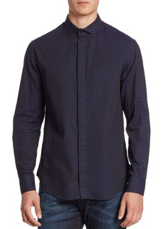 Armani Caiman Jacquard Button-Down Shirt