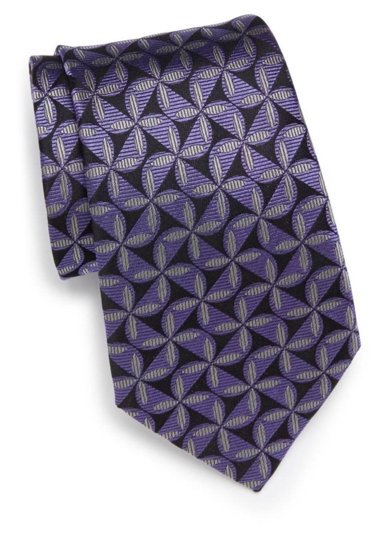 Armani Collezioni Cross Stitch-Print Silk Tie
