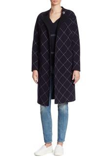 Armani Double-Face Windowpane Wrap Coat