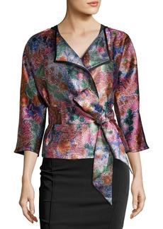 Floral Jacquard Draped Jacket with Belt