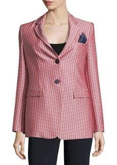 Armani Geometric-Jacquard One-Button Jacket  Red/Multi