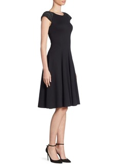 Armani Milano Jersey Beaded Shoulder Fit and Flare Dress