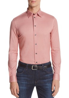Armani Collezioni Patterned Check Classic Fit Button-Down Shirt