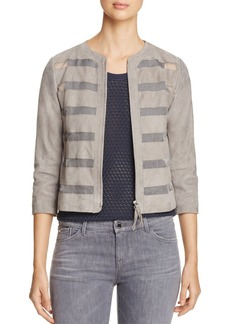 Armani Collezioni Sheer Inset Suede Jacket