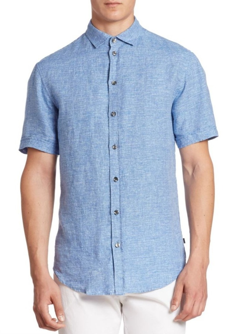 Armani Collezioni Short Sleeve Linen Shirt