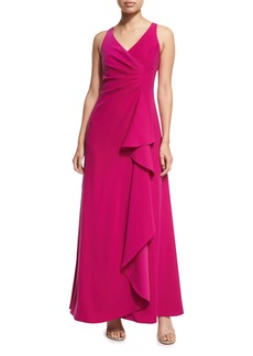 Armani Sleeveless V-Neck Starburst-Pleated Gown