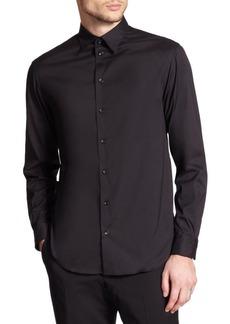 Armani Solid Stretch Button-Down Shirt