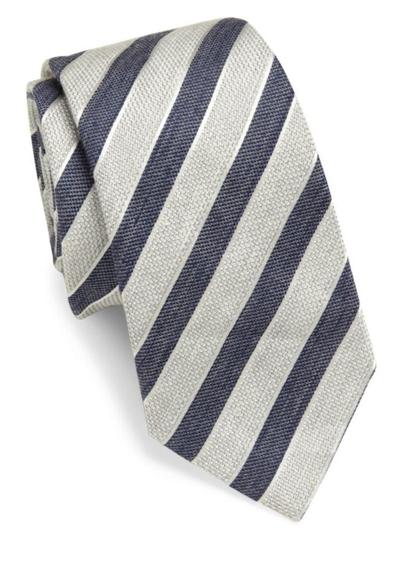 Armani Collezioni Striped Linen Tie