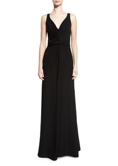 Armani Techno Cady V-Neck Sleeveless Gown