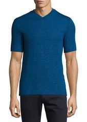 Armani Collezioni Textured-Stripe V-Neck T-Shirt