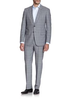 Armani Two-Button Windowpane Wool Suit