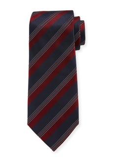 Armani Wide Rep-Stripe Silk Tie
