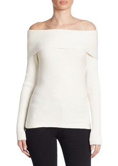 Armani Jeans Off-The-Shoulder Wool Sweater