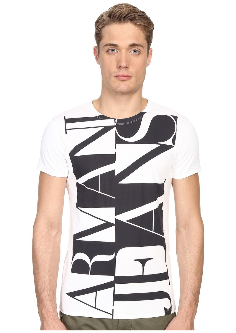 Armani Jeans Large Vertical Color Block Logo Tee
