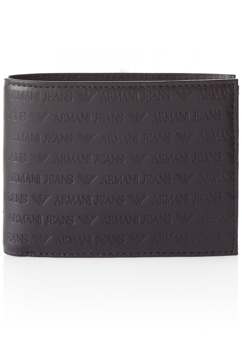82880cb7d564 Armani Jeans Men s All Over Logo Embossed Leather Bifold Wallet 13x10x2  black