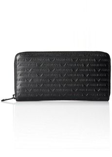Armani Exchange Armani Jeans Men's All Over Logo Embossed Leather Round Zip Wallet black