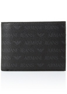 Armani Exchange Men's All Over Logo Pu Bi Fold Wallet with Coin Pocket  One Size
