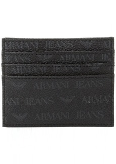 Armani Exchange Armani Jeans Men's All Over Logo Pu Credit Card Holder