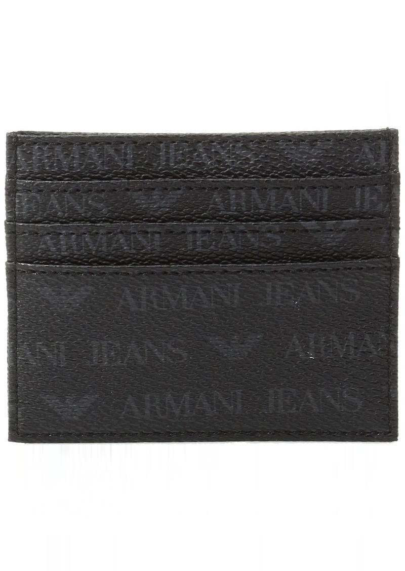 ac64423c284f Armani Exchange Armani Jeans Men s All Over Logo Pu Credit Card Holder
