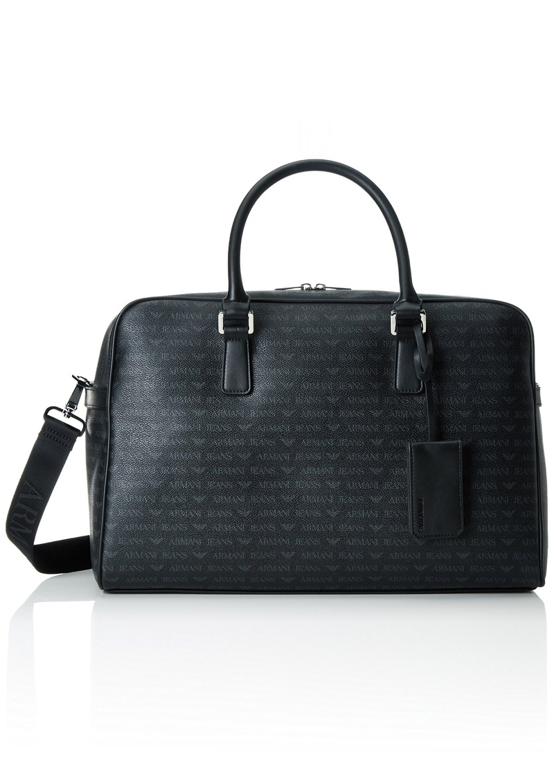 d3807ccc3ce8 Armani Exchange Armani Jeans Men s All Over Logo Pu Duffle Bag Black ...