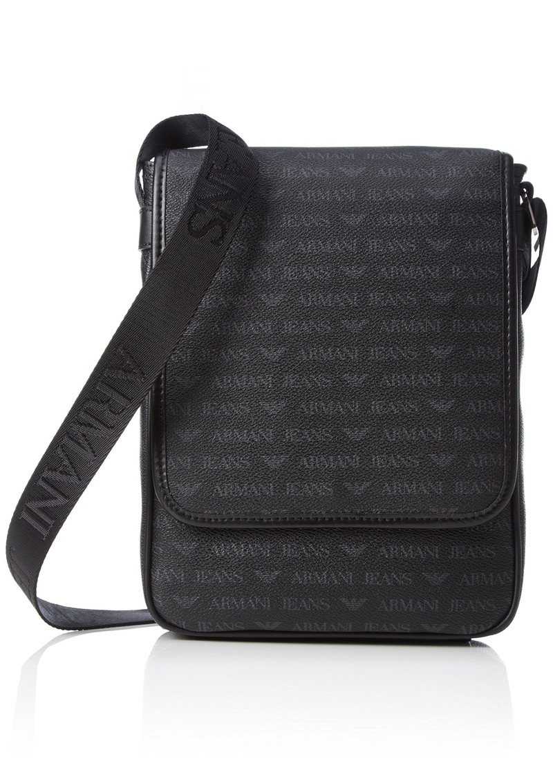323cb9f7322d Armani Exchange Men s All Over Logo Pu Messenger Bag with I-Pad Compartment  Black