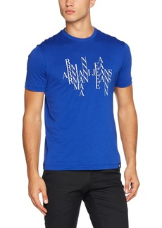 ARMANI JEANS Men's Plus Size Block Letter Eagle Design Cotton Tshirt