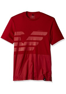 ARMANI JEANS Men's Plus Size Mixed Media Tonal Eagle Tshirt RED