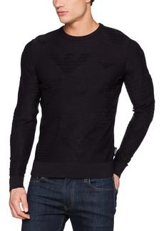 ARMANI JEANS Men's Plus Size Subtle All Over Eagle Logo Pullover