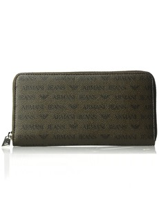 Armani Exchange Armani Jeans Men's Safiano Embossed Pu Round Zip Wallet