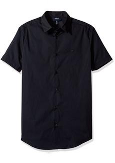 ARMANI JEANS Men's Slim Fit Stretch Poplin Short Sleeve Button Down Shirt