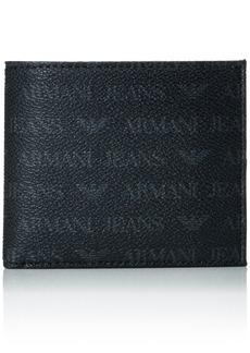 Armani Exchange Armani Jeans Men's Small All Over Logo Pu Bi Fold Wallet