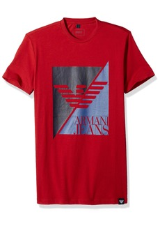 ARMANI JEANS Men's Split Eagle Logo Tshirt RED