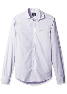 ARMANI JEANS Men's Striped/Check Basic Long Sleeve Button Down Shirt