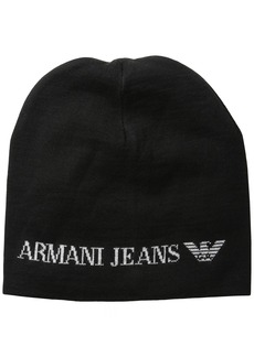 Armani Jeans Men's Wool Blend Knit Logo Hat