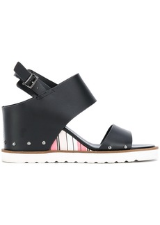 Armani Jeans striped wedge sandals - Black