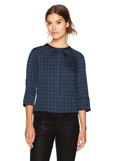 ARMANI JEANS Women's 3/4 Sleeve Blouse with All Over Print