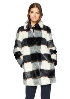 ARMANI JEANS Women's Eco Fur Checkered Coat