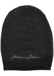 ARMANI JEANS Women's Logo Knit Beanie Dark Grey