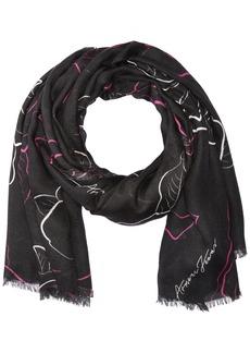 Armani Jeans Women's Rose Print Knit Scarf black One Size