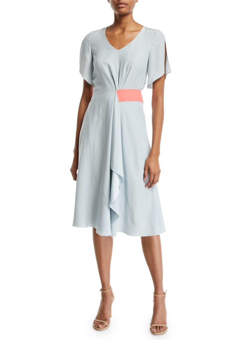 Armani Asymmetric Slit-Sleeve Silk Dress