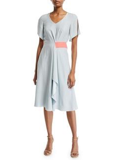 Armani Asymmetric Slit-Sleeve Silk Dress