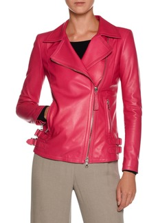 Armani Asymmetric-Zip Lamb Leather Moto Jacket