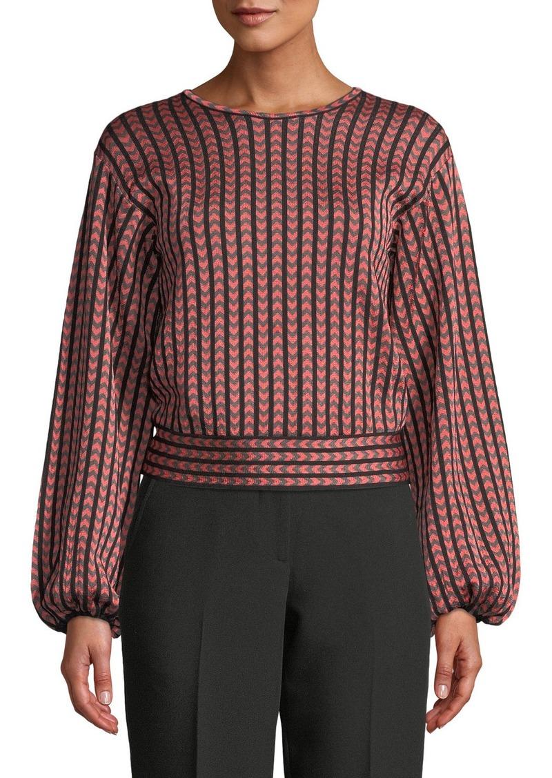 Armani Balloon-Sleeve Herringbone-Striped Top