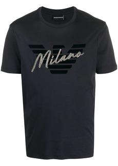 Armani bead-embellished logo T-shirt