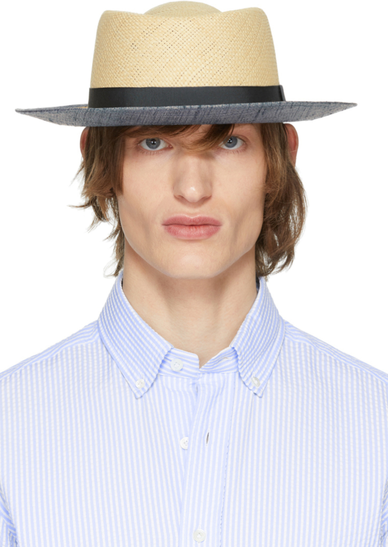 Armani Beige Straw Boater Hat