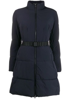 Armani belted funnel-neck padded coat